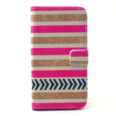 Gold stripes Stand Leather Case For Samsung S6 - BoardwalkBuy - 1