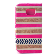 Gold stripes Stand Leather Case For Samsung S6 - BoardwalkBuy - 3