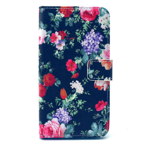 Black Flower Stand Leather Case For Samsung S6 Edge