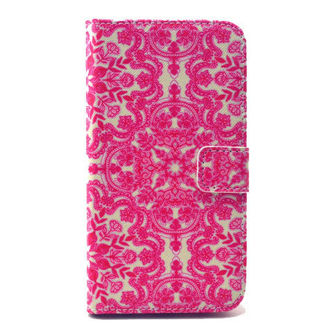 Pink flower Stand Leather Case For Samsung S6 - BoardwalkBuy - 1