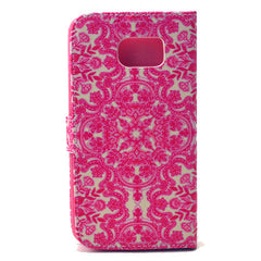 Pink flower Stand Leather Case For Samsung S6 - BoardwalkBuy - 3
