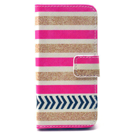 Gold stripes Stand Leather Case For iPhone5s - BoardwalkBuy - 1