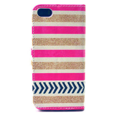 Gold stripes Stand Leather Case For iPhone5s - BoardwalkBuy - 3