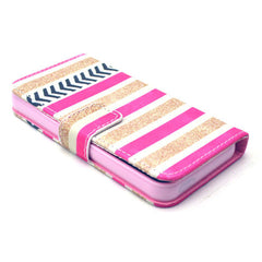 Gold stripes Stand Leather Case For iPhone5s - BoardwalkBuy - 4