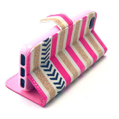 Gold stripes Stand Leather Case For iPhone5s - BoardwalkBuy - 2