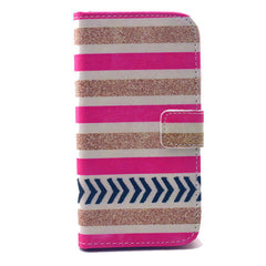 Gold stripes Stand Leather Case For Samsung S4 - BoardwalkBuy - 1