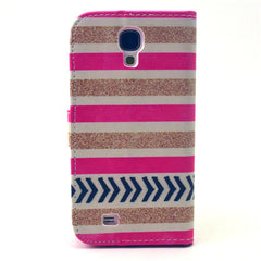 Gold stripes Stand Leather Case For Samsung S4 - BoardwalkBuy - 3