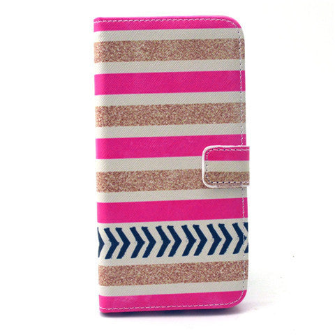 Gold Stripes Leather Case for iPhone 6 Plus - BoardwalkBuy - 1