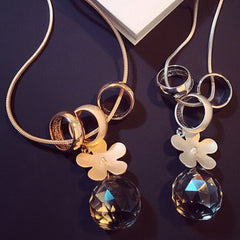 Daisy Flower Crystal Ball Sweater Chain Necklace - BoardwalkBuy - 1