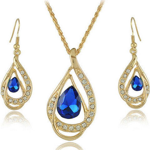 Double Gold Water Drop Crystal Necklace + Earrings - BoardwalkBuy - 1