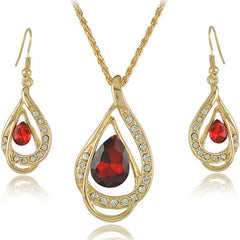 Double Gold Water Drop Crystal Necklace + Earrings - BoardwalkBuy - 3