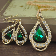 Double Gold Water Drop Crystal Necklace + Earrings - BoardwalkBuy - 5