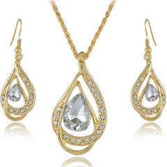 Double Gold Water Drop Crystal Necklace + Earrings - BoardwalkBuy - 4