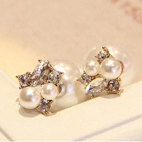 Double Sides Pearl Ball Stud Earrings