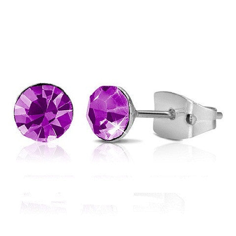 Purple Crystal Alloy With Chromium Plating Studs Butterfly Back
