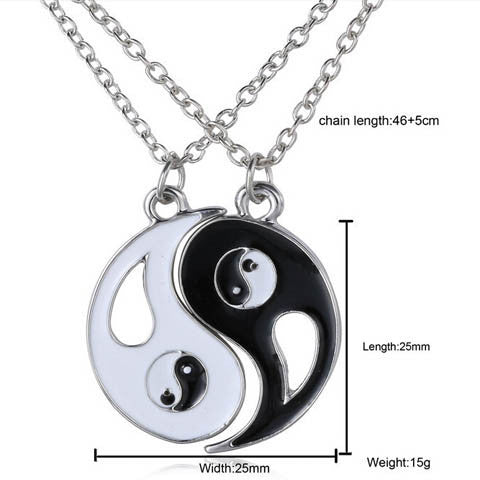 Eight-diagram-shaped Appetizer Black White Couple Necklace ...