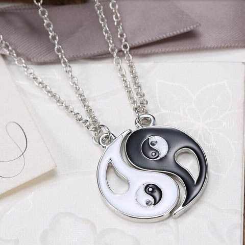 Eight-diagram-shaped Appetizer Black White Couple Necklace - BoardwalkBuy - 1