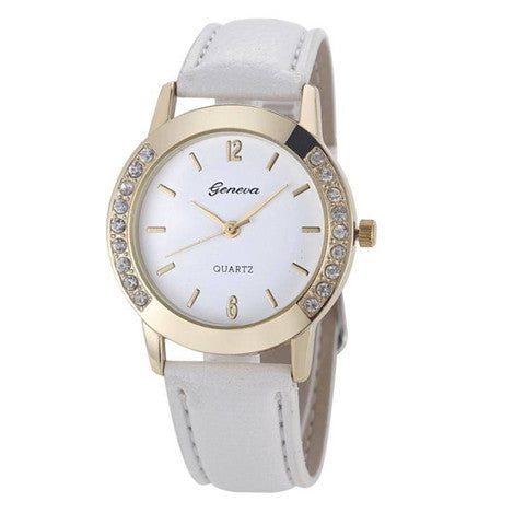 Elegan Women Diamond Analog Leather Quartz Wrist Watch - BoardwalkBuy - 1