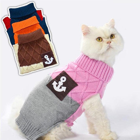 Warm Knitted  Sweater For Small Cat