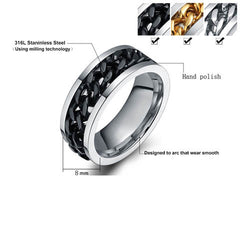 Stainless Steel Chain Rotatable Ring - BoardwalkBuy - 6