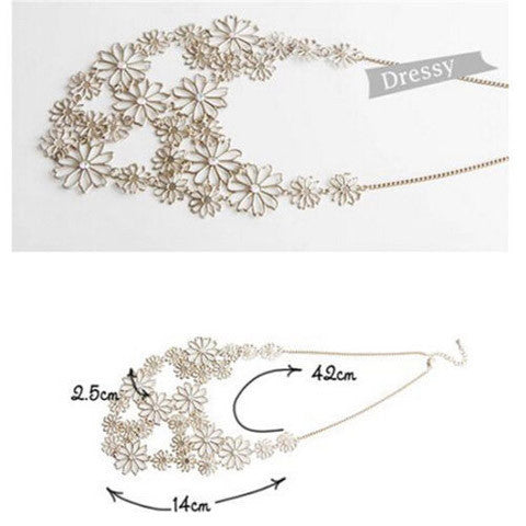 Fashion Flower Chain Gold Plated Necklace - BoardwalkBuy - 1