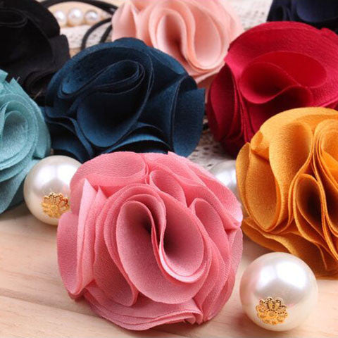 Fashion Women Girl Pearl camellia Hair band - BoardwalkBuy - 1