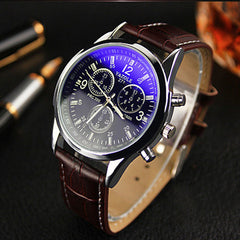 Faux Leather Men Blue Ray Glass Quartz Analog Watche - BoardwalkBuy - 5