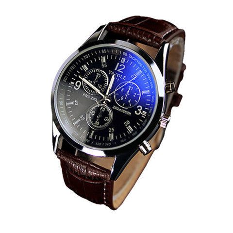 Faux Leather Men Blue Ray Glass Quartz Analog Watche