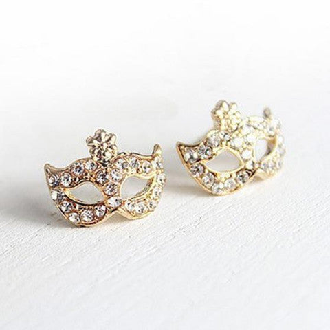 Full Rhinestones Magic Mask Stud Earrings