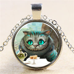 Glass Cabochon Vintage Bronze Cat Pendant Necklace