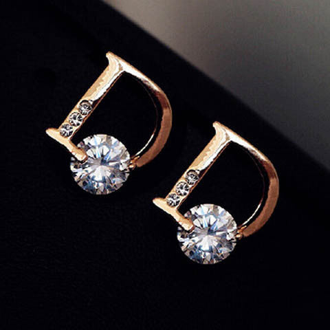 Gold Color Letter D Stud Earrings