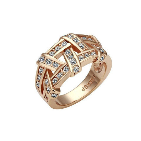 Gold Plate Crystal Cross Element Women Ring