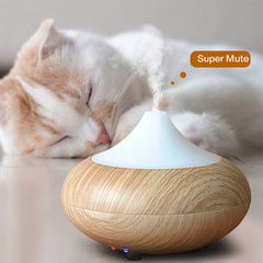 Wood Grain Ultrasonic LED Air Humidifier and Diffuser with Color-Changing Light