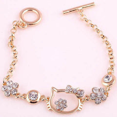Gold Plated Hello Kitty Rhinestone Pendant Bracelets