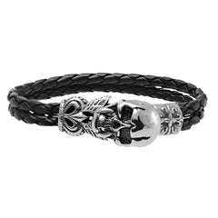 Men's Stainless Steel Skull Clasp Black Leather Bracelet - BoardwalkBuy - 3