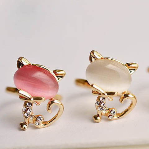 Pink White Cute Cat Opening Ring