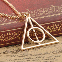 Harry Potter Deathly Hallows Triangle Metal Pendant Necklace - BoardwalkBuy - 1