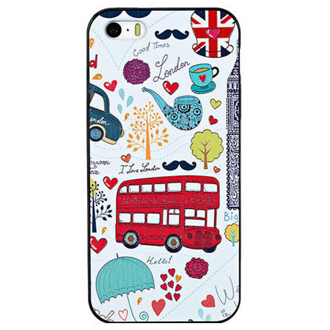 Cartoon Bus Embossed Case For Iphone 5