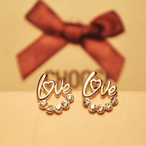 Love Crystal Stud Earrings - Gold Color
