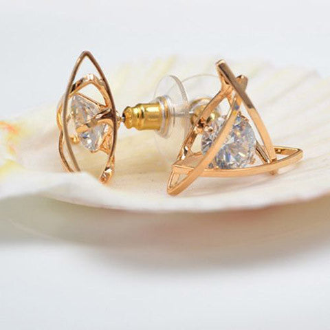Lady Elegant Triangle Crystal Rhinestone Ear Stud