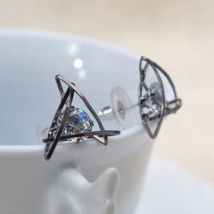 Lady Elegant Triangle Crystal Rhinestone Ear Stud - BoardwalkBuy - 2