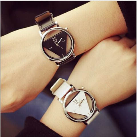 Leather Band Stainless Steel Sport Analog Quartz Wrist Watch