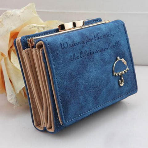 Leather Button Lady Short Handbag