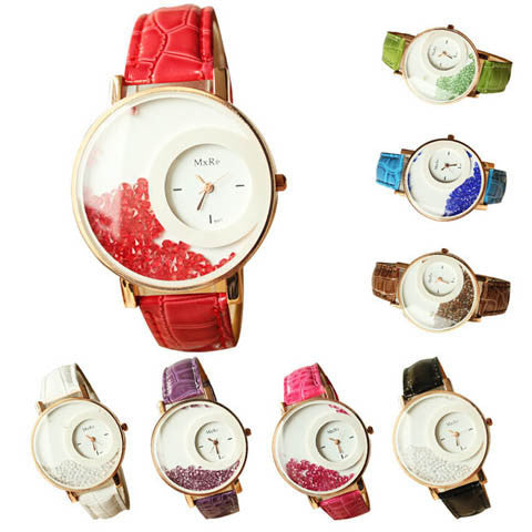 Leather Strap Women Rhinestone Wrist Watch - BoardwalkBuy - 1