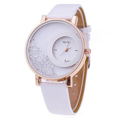 Leather Strap Women Rhinestone Wrist Watch - BoardwalkBuy - 3
