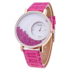 Leather Strap Women Rhinestone Wrist Watch - BoardwalkBuy - 9