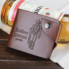 Leather hunter folding Men Wallet - BoardwalkBuy - 3