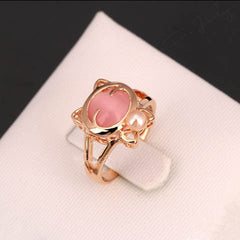Crystal Cat Head Pearl Ring - BoardwalkBuy - 1