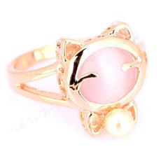 Crystal Cat Head Pearl Ring - BoardwalkBuy - 3