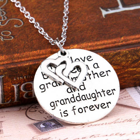 Love Between Grandmother And Granddaughter Double Heart Necklace